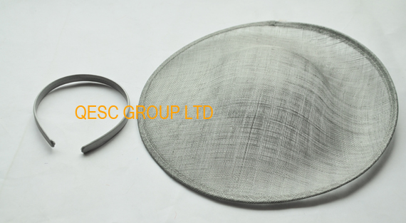Silver grey sinamay base 1.3cm satin headband for fascinator(China (Mainland))