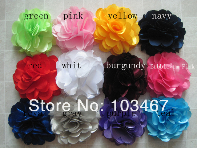 Free shipping!72pcs/lot 3'' satin flowers,rosette flowers,petti skirt flowers, mix colors