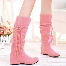 2015 gran tamaño 34-43 cargadores de moda borla dulce estilo mujeres Boot rodilla altos cargadores de la nieve zapatos calientes del invierno(China (Mainland))