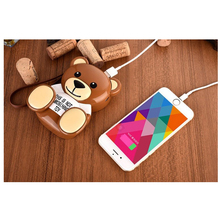 Lovely cartoon brown teddy bear 12000mAh power bank 12000mah Dual USB External Battery with hang rope for iphone samsung mobile(China (Mainland))