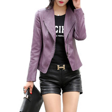 5XL 2016 Spring Autumn Women Leather Jacket Oblique Zipper Motorcycle Trendy Casual Faux Leather Solid Color Short Coat  (China (Mainland))