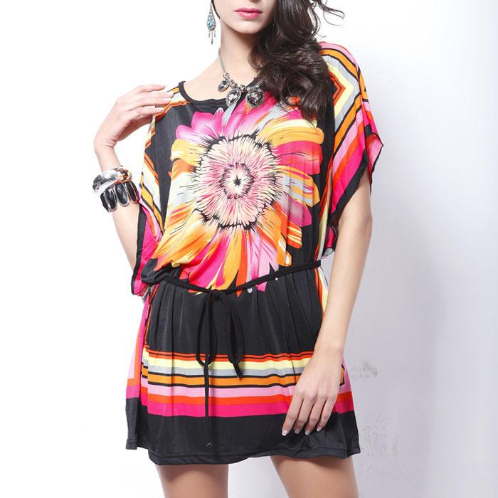 New 2015 fashion loose shirt women casual dress Ice silk cotton short sleeve tunics vintage bohemian dresses 12 Styles plus size(China (Mainland))
