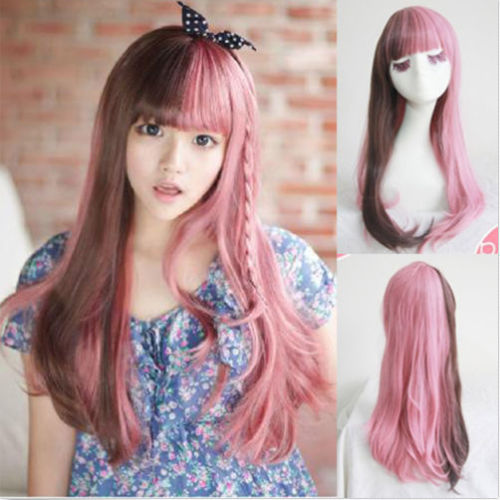 free shipping Express delivery to USA New Brown+Pink Hair Long Curly Full Wigs Cosplay Party Costume Wig s0742(China (Mainland))