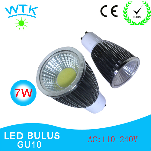 Led Spotlight 7W GU10 COB (10Pcs/lot) High Power White Warm/ Cold  White Lamps AC85-265V with Free Shippng and 2 years Warranty<br><br>Aliexpress