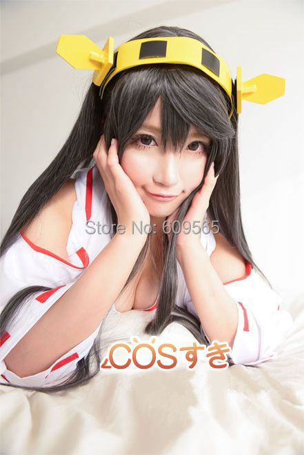 Free Shipping! 2014!Anime gray 1 meters gsc collection long straight hair cosplay Haruna wig<br><br>Aliexpress