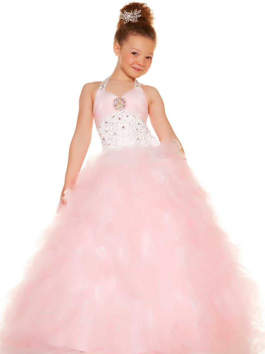 Free Shipping 2013 Halter Pink Beaded Tulle Long Ball Gown