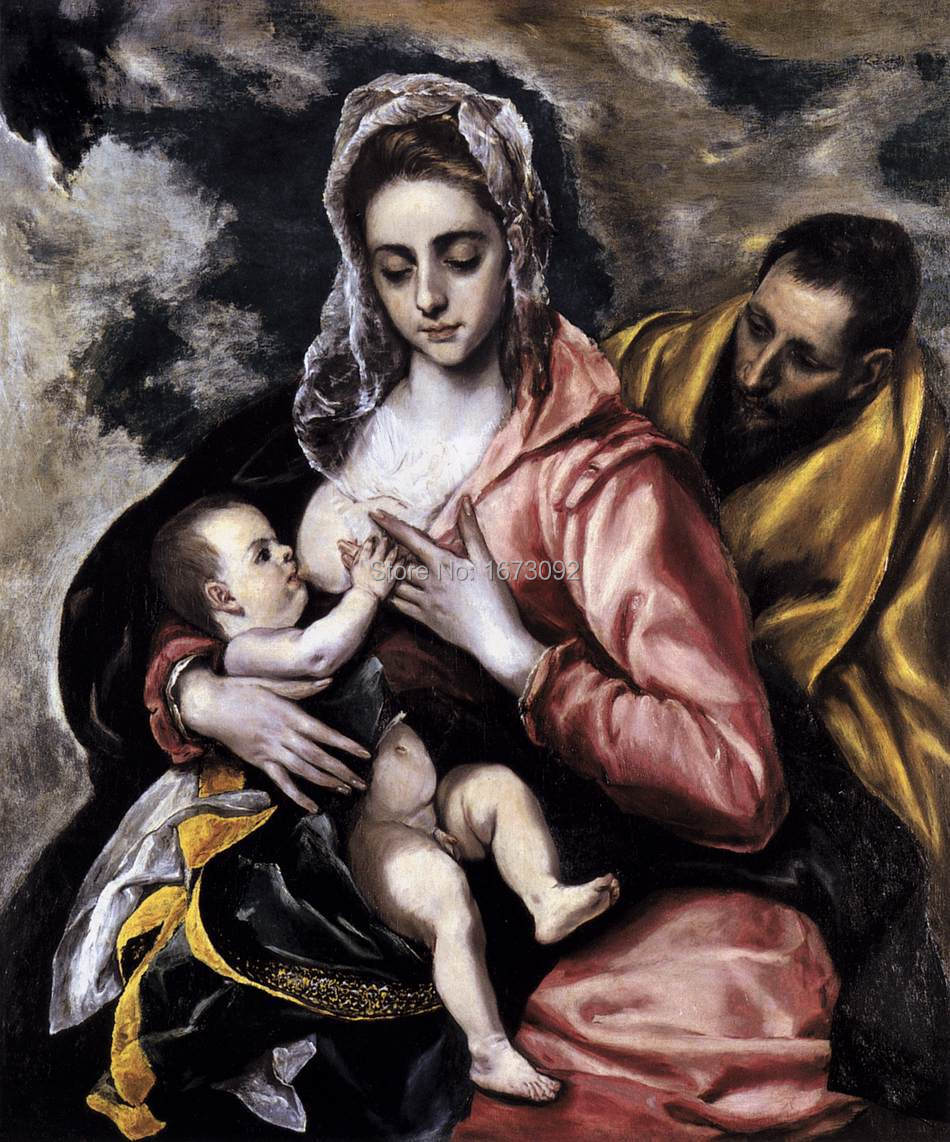 TOP Christianity Free Shipping The Holy Family Religion Mary Feeding Jesus Joseph Religious Oil Painting Hand Painted on canvas(China (Mainland))