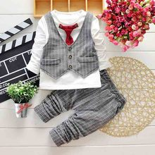 2015 Spring Kids Clothing Set Boy clothing set's  Children's Fashion Tie Plaid suit Boys Clothes baby Sets Kids set(China (Mainland))