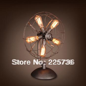 2013 New arrival antique black 5pcs E27 edison bulb american style antique table lamp/study table lamp luxury classical fan lamp