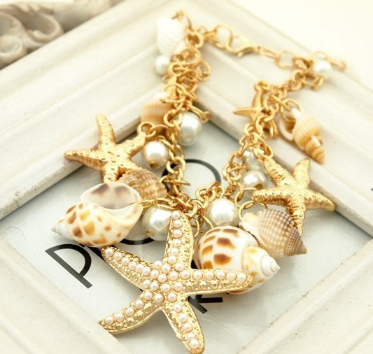 Summer heat waves essential conch starfish beach trip unique bracelet jewelry for couples(China (Mainland))