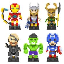 The Avengers Figure nano blocks Super Hero Diamond Building Blocks Mini DIY Bricks Model Educational Toy gift Brinquedos Meninos