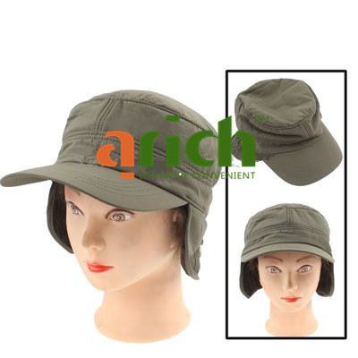 Fashionable Cotton Cap Hat with Protective Ear Cover & Stiff Brim for Keeping Warm - Military Green