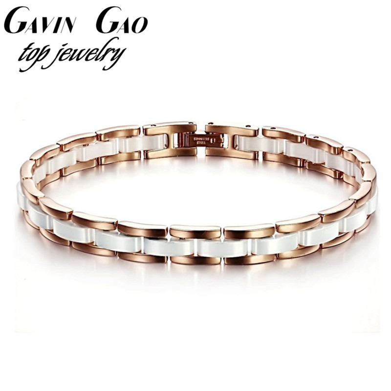 Top Quality Rose Gold Plated 316L Stainless Steel Luxury White Ceramic Female Bracelets Bangles For Women/Girls OPK Jewelry<br><br>Aliexpress