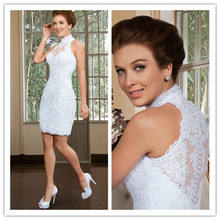Sheath White Wedding Dress 2016 Halter Sleeveless Button Knee Length Lace and Applique 2016 Short Wedding Gowns Bridal Dresses(China (Mainland))