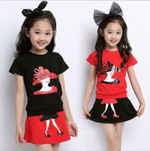 summer style fashion O-neck chiffon short T shirt + culotte girl dress set polka dot kids clothes 7~15 age children - Two And Rabbits store