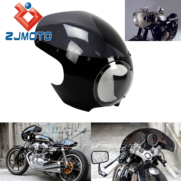 Cafe Racer Motorcycle Headlight : Quot headlight fairing motorcycle black and smoky abs