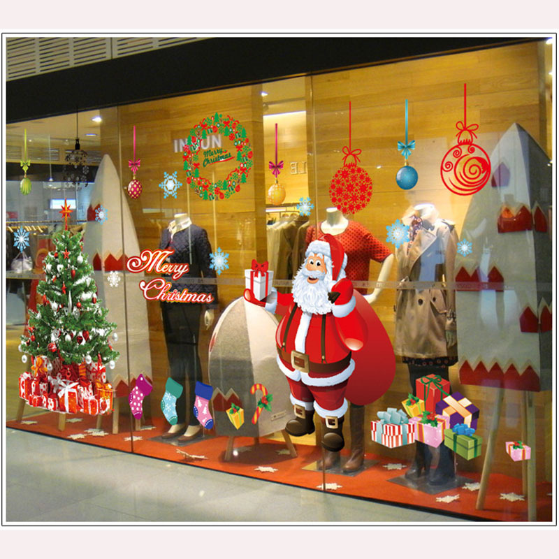 Christmas decoration glass window stickers Santa Claus and snow tree sitting room bedroom wall stickers(China (Mainland))