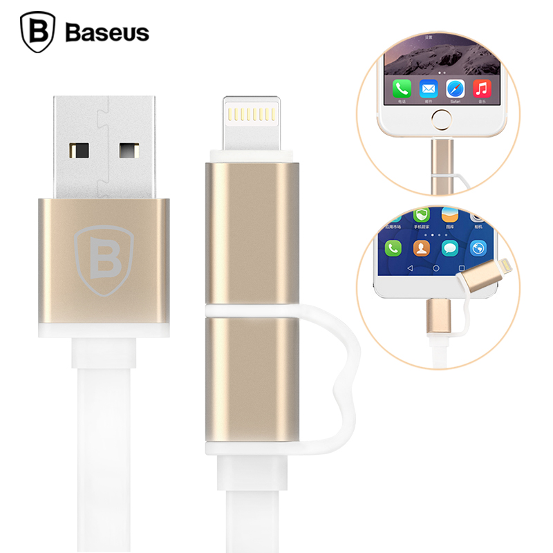 Original Baseus 2 in 1 Multi 1M USB Charger Date Cable For iphone6s 6 6s plus