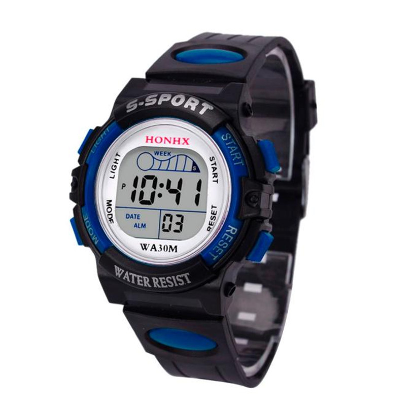 Best seller free shipping HONHX Children Boys Digital LED Sports Watch Kids Waterproof Alarm Date Watch relogio feminino May27