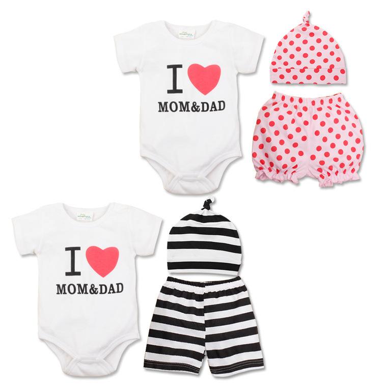 2015 New Summer Style Baby Clothing Set Newborn Baby Boy Girl Infant Clothes Set ( Romper + Pant + Hat ) Roupa Infantil(China (Mainland))