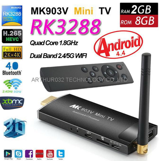 MK903V RK3288 Android 4.4 TV Box Dongle Stick Quad Core 1.8GHz 2G/8G XBMC HDMI 4K H.265 2.4/5GHz Dual WiFi OTG Smart HDD Player