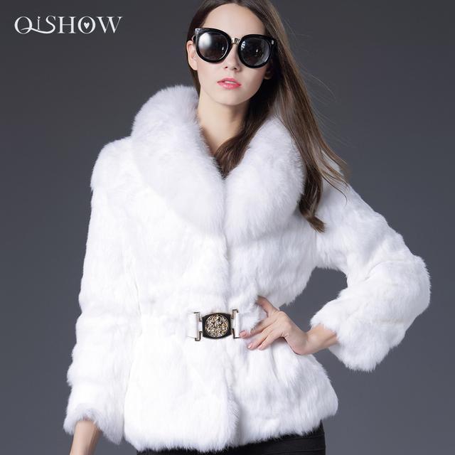 Осенне-зимней моды V-образным Вырезом мех кролика пальто с лисой меховой воротник ...