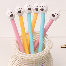 4Pcs/set 0.38mm Cute Novelty Coffee Cup Molang Rabbit Gel Ink Pen Promotional Gift Stationery School & Office Supply(China (Mainland))