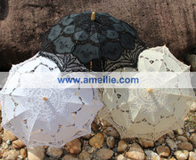 Free shipping 3 Colors Assorted Battenberg Lace Parasols available in white,ivory and black,10pcs/lot(China (Mainland))