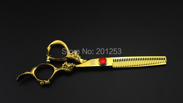 6.0Inch Japan Kasho Thinning Scissors,Professional Golden Dragon Pattern Hair Scissors for Hair Barbers with Rhinestone,1pcs<br><br>Aliexpress