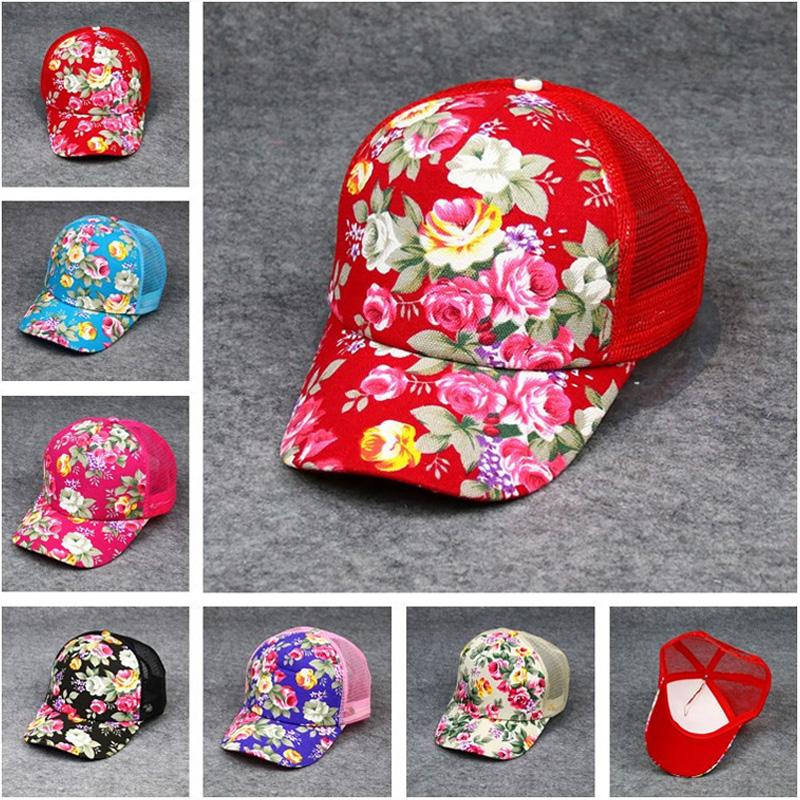 Women Ladies Summer Flower Cap Fashion Mesh Baseball Sun Visor Outdoor Sport Hat HATDS0001(China (Mainland))