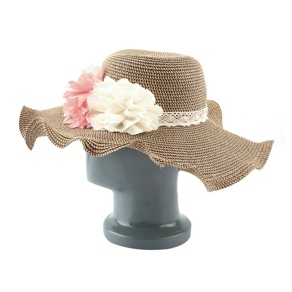 1pc Cute Women Roll Brim Straw Hat Flower Vintage Summer Beach Folding Floppy Cap C1(China (Mainland))