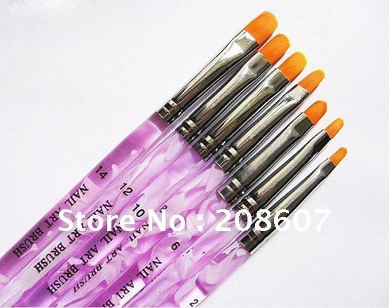 Freeshipping 7 Sizes Professional UV Gel Brush Nail Art Painting Draw Brush Nail Pen Wholesales