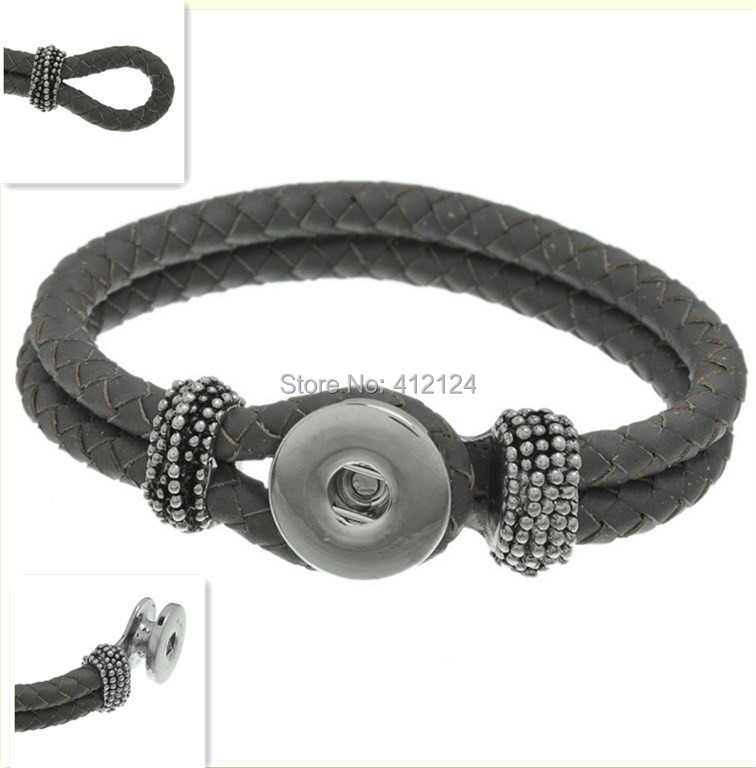 25 Wholesale Bracelets Braided Rope DIY Real Leather Dark Grey Fit Snap Press Buttons Fashion Jewelry 22cm<br><br>Aliexpress