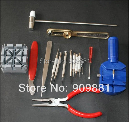 Freeshipping Brand New 16-Piece Deluxe Watch Repair Tool Kit With Watchband Link Pin Remover(China (Mainland))
