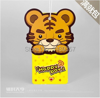 In stock Kids hang tags/cute boy children clothing/bag tag label free design custom printed logo kraft hang tag swing tag dp290(China (Mainland))
