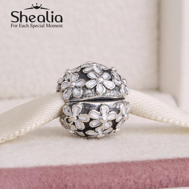 Весна коллекция аутентичные 925 чистое серебро маргаритка клип подвески-талисманы с эмаль подходит своими руками браслеты SH0604