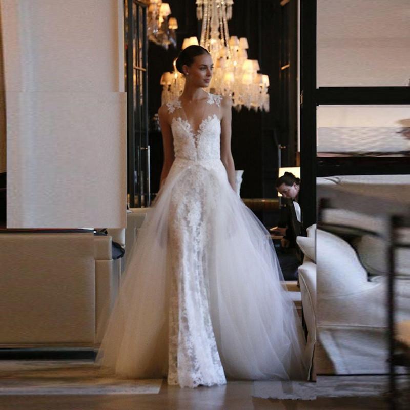 Mermaid Wedding Dress With Detachable Train : Vestidos de novia deep v neck mermaid wedding dresses