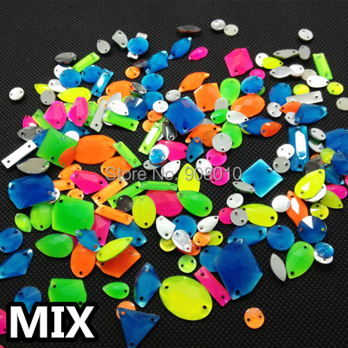100pcs/bag Mixed colors Sizes shapes Acrylic Resin sew on rhinestone flatback sew on for DIY,dress,shoes(China (Mainland))