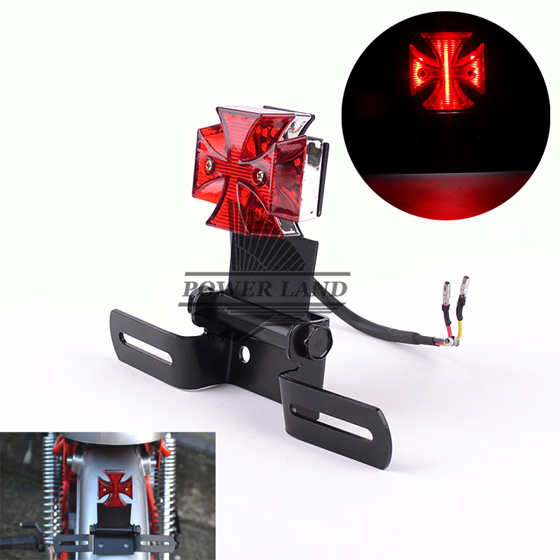 Red Lens 12V Motorcycle Mini Base Bracket Chrome Maltese Cross LED Tail Brake Rear Warn Number Plate Light Red Univerasal Fit(China (Mainland))