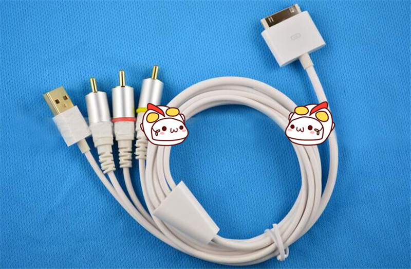 30 PIN Sync Date Cable Charger USB Cable for iPhone4s for iPad 3 Support IOS8 and AV cable to High-definition cable television(China (Mainland))