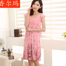 Buy coton femmes sans manches chemise de nuit modal sleepwear female princess nightgown ladies summer skirt home dress free for $14.94 in AliExpress store