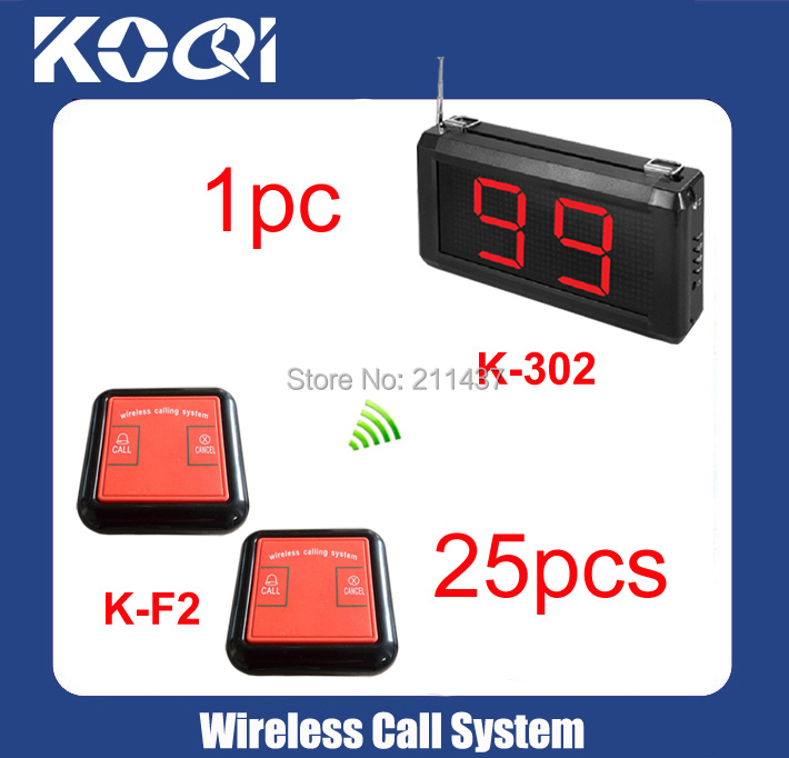 Professional style 25pcs of K-F2 table button+Good Performance Table Calling Systems display K-302 DHLfree shipping 433.92MHZ(China (Mainland))