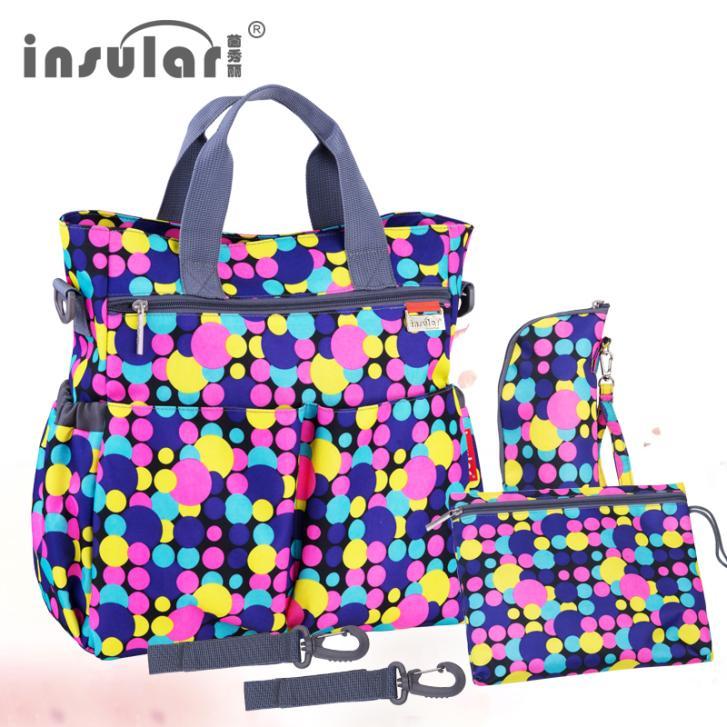 2016 New Style Shipping Free Dots Fashion Nylon Baby Diaper Bag Changing Bag Set Mommy Bag Include The Feeding Bottle Bag(China (Mainland))