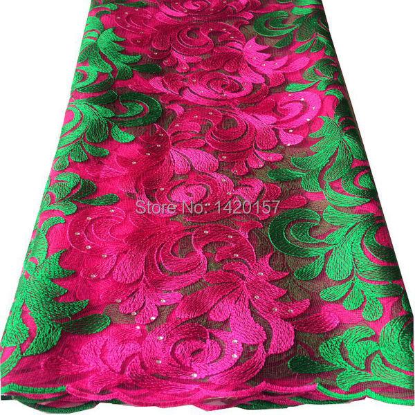 2016 Latest Nigerian Wedding African Lace Green Fushia Pink French Net Lace Fabric, Mesh Net Fabric Embroidered Free Shipping!(China (Mainland))