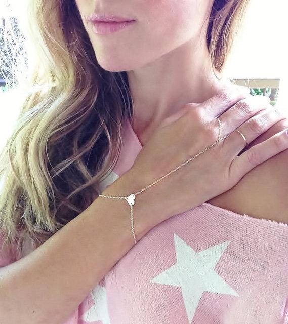 Оригинальный одной горячие модели в форме сердца палец кольцо браслет MittensFinger ...
