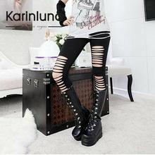 free shipping new 2013 gothic punk shoes cosplay boots knee high heel platform sexy zip winter wedges knee high boots HB176