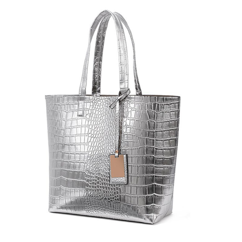 2015 New Fashion Sliver PU Leather Crocodile Pattern Women Casual Tote Bags Europe Ladies Clutch Bags New Designer Handbags(China (Mainland))