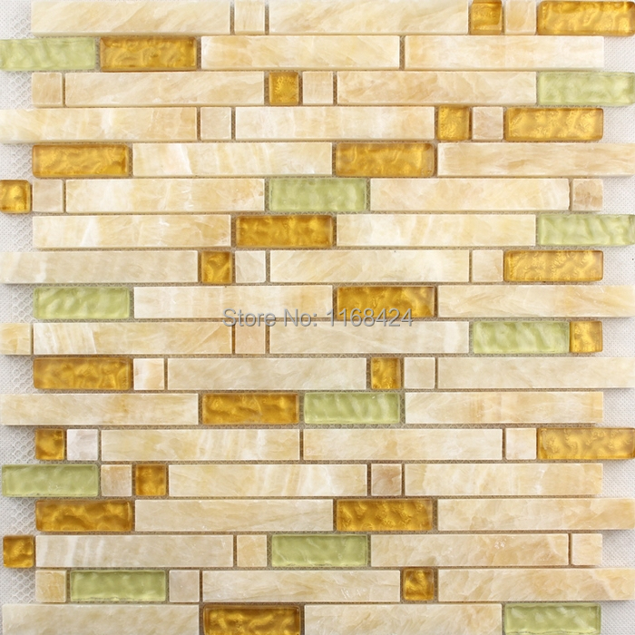 Stone Mixed Glass Tiles Yellow Color Strip For Bathroom Shower Tiles Wall Mosaic Kitchen