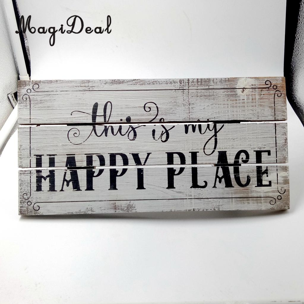 MagiDeal Vintage Wooden Plaque Shabby Chic Signs Home Decoration Wooden Gift Wall Door Hanging Decorative Signs Board