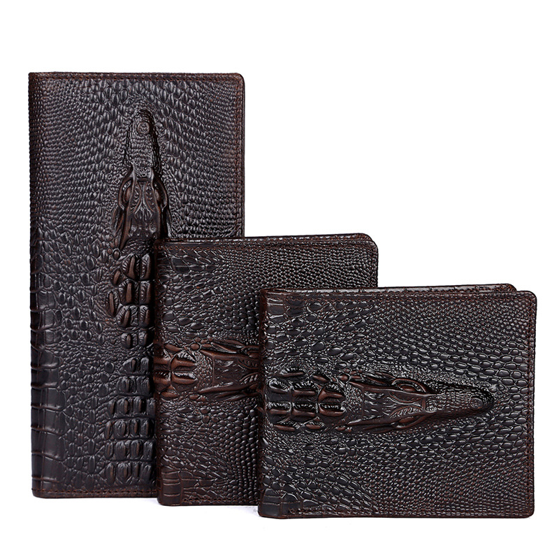 2016 men luxury business genuine leather wallet cowhide leather crocodile wallet money bags,long and short purse(China (Mainland))